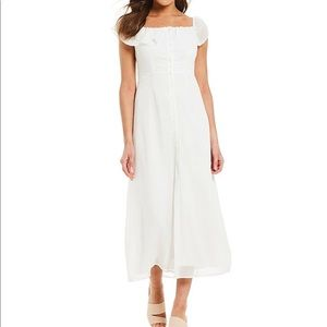 Aida Square Neck Button Front A-Line Midi Dress